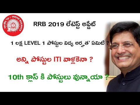 RRB 2019 RECRUITMENT 1 LAKH LEVEL 1 POSTS EDUCATION QUALIFICATIONS LATEST UPDATES || RRB UPDATES
