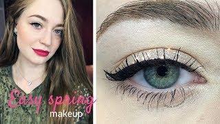 Легкий простой весенний макияж пошагово / яркие губы: видео-урок