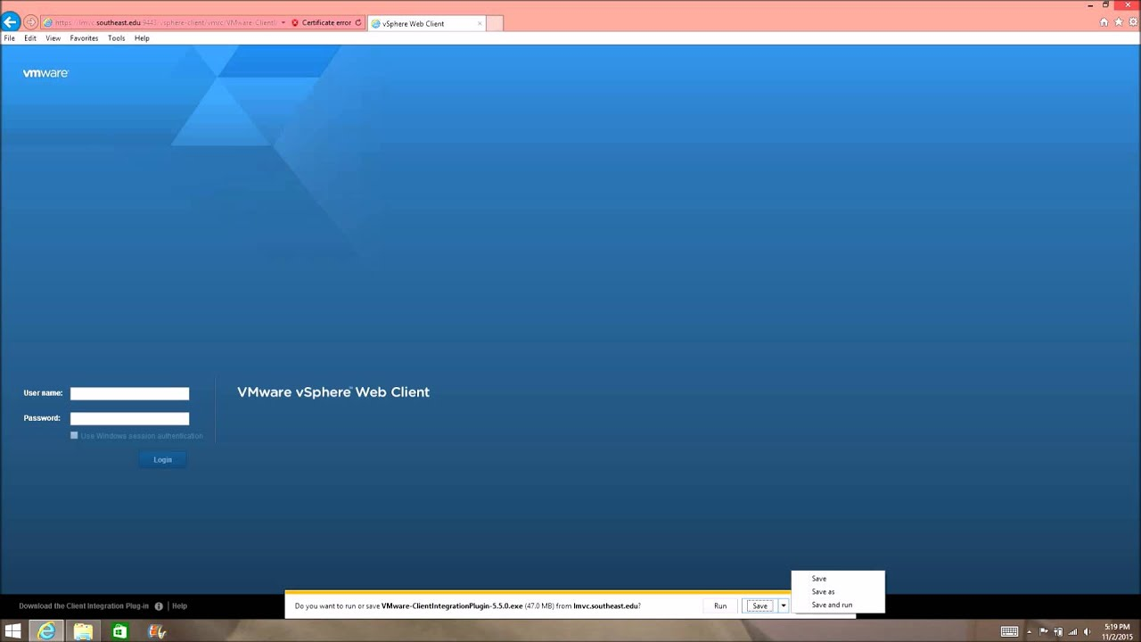 Install of vmWare client plugin on Internet Explorer