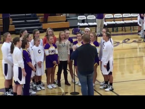 Coopertown Middle School 2015 8th Grade Basketball Players & Cheerleaders sing National Anthem