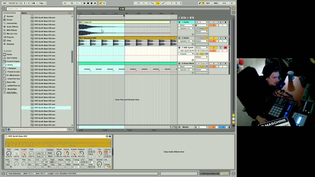 ableton live 9 beginner tutorial 04 - first beat & bass with drum