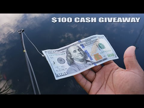 $100 Bill Fishing Challenge CASH GIVEAWAY   Monster Mike