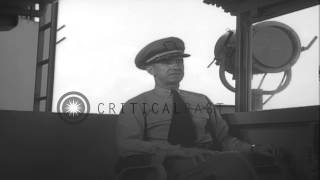 Rear Admiral Ballentyne on board United States aircraft carrier Franklin D Roosev...HD Stock Footage