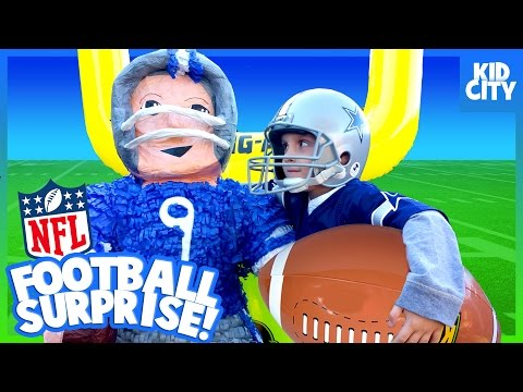 NFL Football Surprise Toys!!! Giant SMASH Piñata Challenge For KIDS | KIDCITY