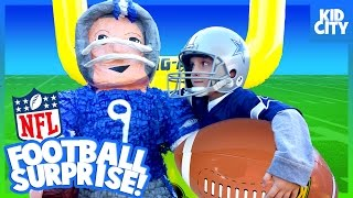 NFL Football Surprise Toys!!! Giant SMASH Piñata Challenge for KIDS | KIDCITY