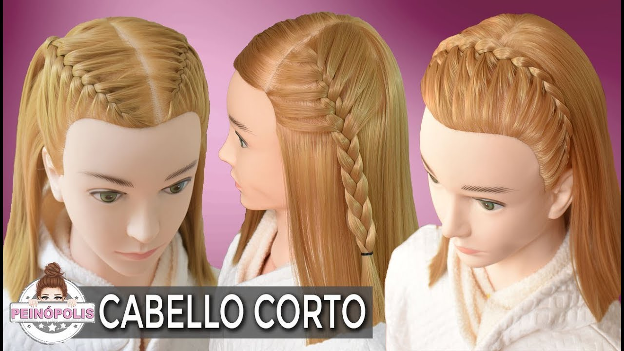 3 Hairstyles With Short Hair Braids Easy And Fast Half Up Hairstyle