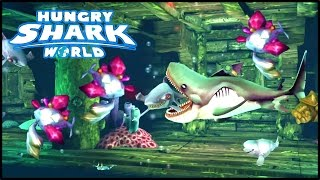NEW SECRET AREA! THE SUNKEN GALLEON SHIP! - Hungry Shark World Megamouth Gameplay (Pacific Island)