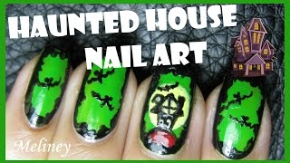 Halloween Nails - Haunted House On The Hill Nail Art Design Freehand Tutorial
