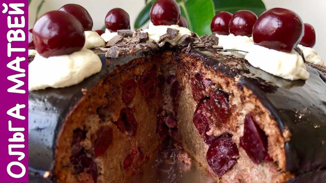 торт пьяная вишня под карамельным соусом видео-рецепт
