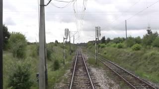 Odcinek Radom - Dobieszyn [D29-8] z tyłu pociągu EIC Ondraszek jadącego objazdem