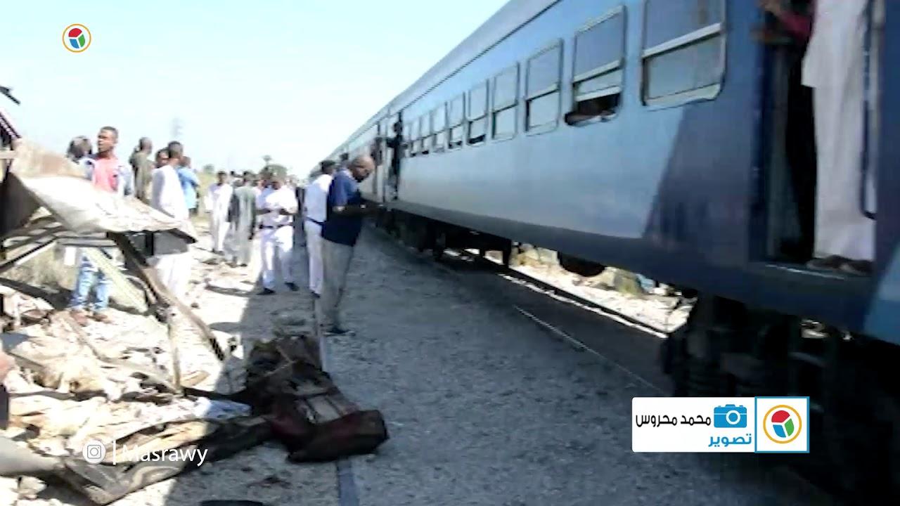 اللقطات الأولى في موقع حادث قطار الأقصر