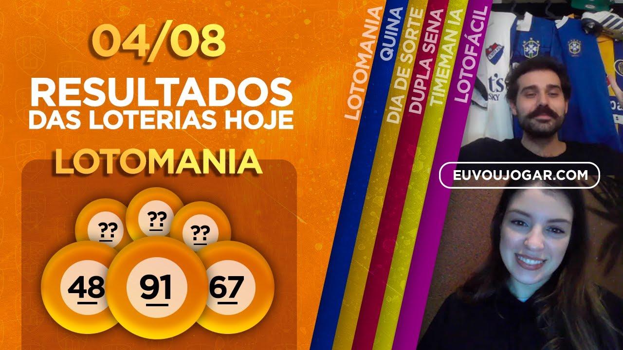 🔴 LIVE: RESULTADO DA LOTOMANIA 2097 | QUINA 5331 | DUPLA SENA 2113 e mais - 04/08