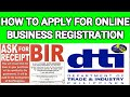 HOW TO APPLY TO DTI AND BIR? (online business registration 2020)