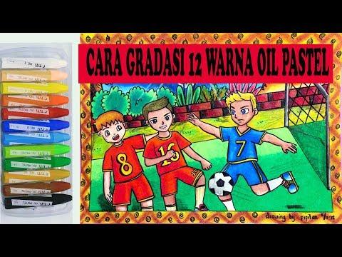 Cara Gradasi 12 warna oil pastel Tema Olahraga (SEPAK BOLA )