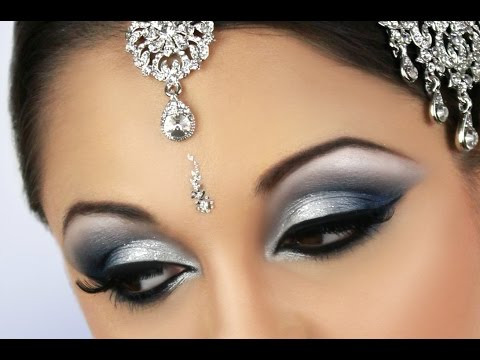 Silver And Blue Smokey Eye Bridal Makeup