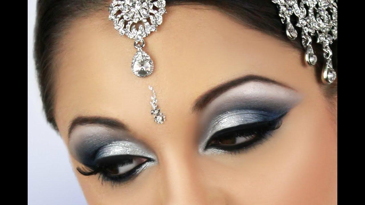 silver and blue smokey eye bridal makeup youtube