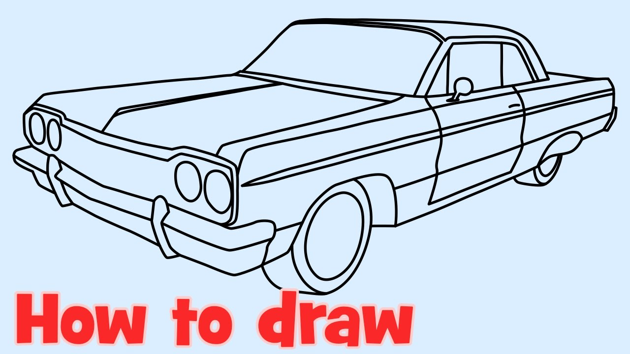 How to draw a car Chevrolet Impala lowrider 1964  YouTube