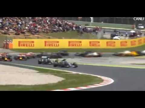 F1 2016 Spanish GP   START & Lewis Hamilton & Nico Rosberg  CRASH