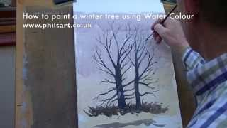 How To Paint A Winter Tree In Water Colour