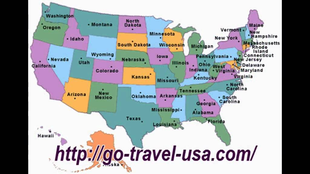 map of usa states - YouTube