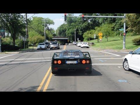 Green Ferrari F40 & Red Lamborghini Murcielago LP640-4 In Greenwich - Startups, Accelerations!