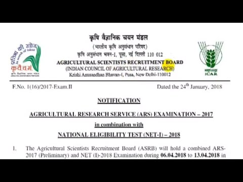 AGRICULTURAL RESEARCH SERVICE (ARS) EXAMINATION-2017, NET(I)-2018