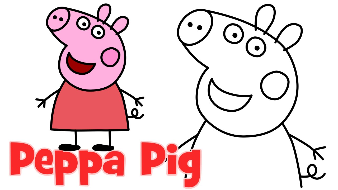 How To Draw Peppa Pig Characters Step By Step Easy Drawing For Kids Youtube