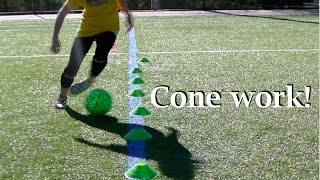 Soccer cone dribbling for beginner and intermediate players