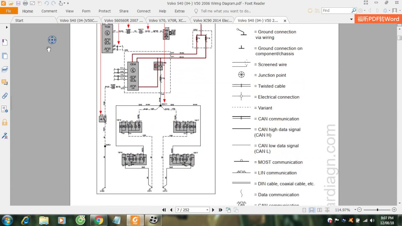 Volvo S40 04 V50 2006 Wiring Diagram  YouTube