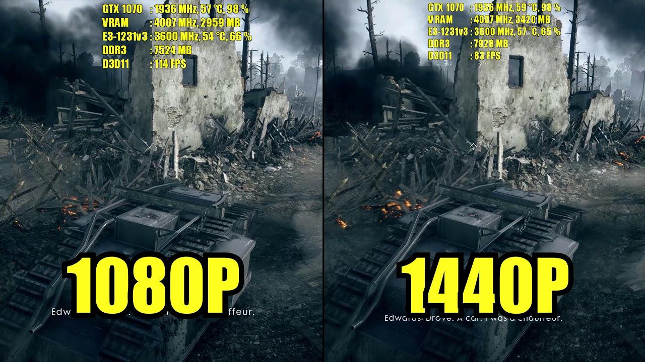 1920x1080 vs 2560x1440 | battlefield 1 | gtx 1070 - youtube