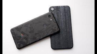 Наклейки dbrand для Pixel 3 XL (Black Camo) и iPhone Xr (Black Dragon)