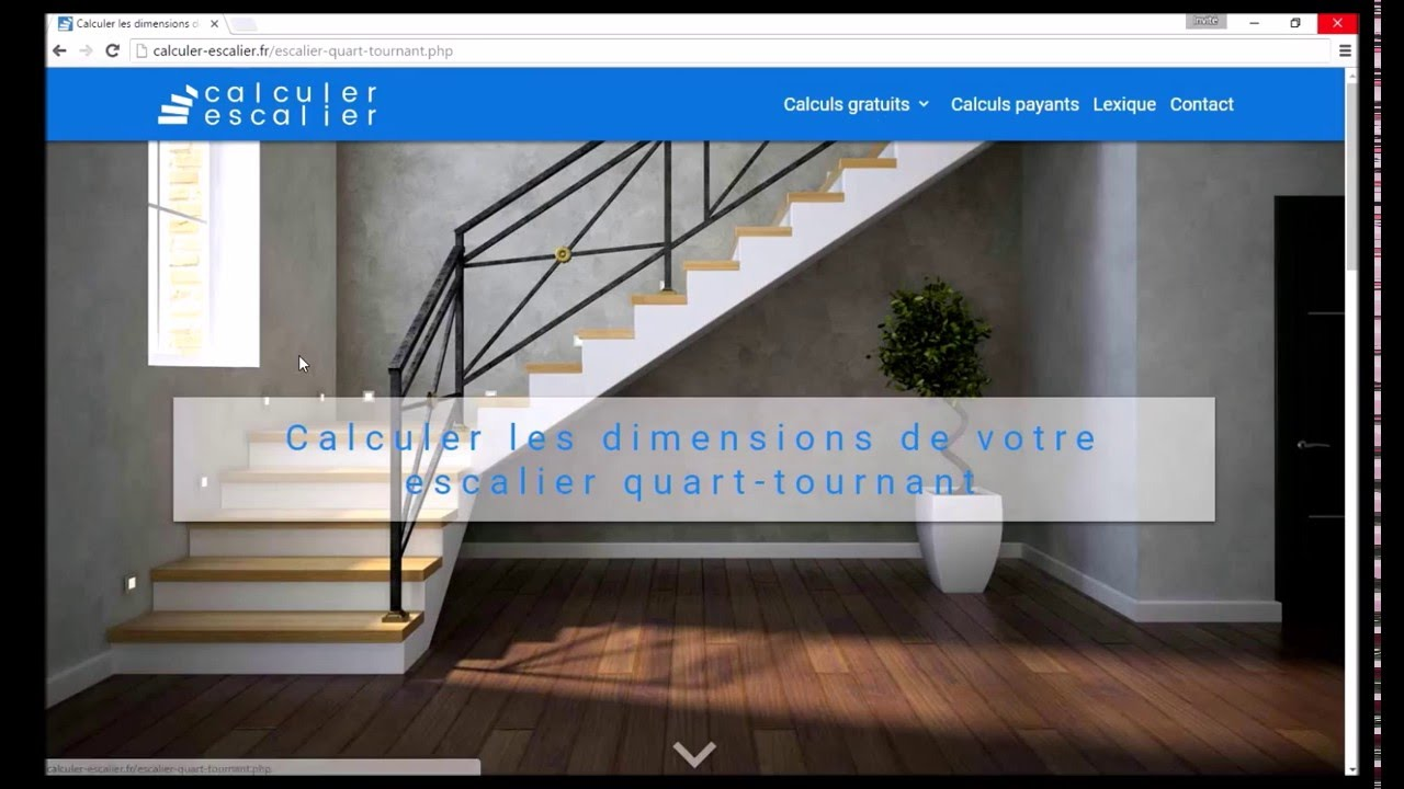 Calculer un escalier quart tournant exemple n 1 youtube - Escalier colimacon double niveau ...