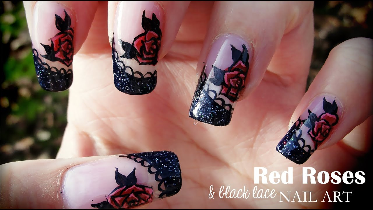 red roses & black lace nail art