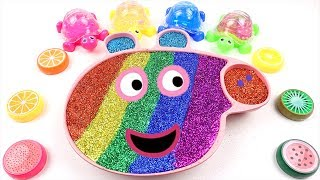 Mixing All My Slime Smoothie | Making Rainbow Slime Glitter Peppa Pig for Kids | Peek A Boo Song