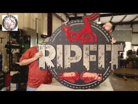 Custom Metal Business Sign - RIPFIT lobby sign - Alabama Metal Art