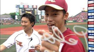 【プロ野球パ】初のお立ち台に「フォー!」とノリノリ、阿部のヒーローインタビュー 2015/07/05 E-F