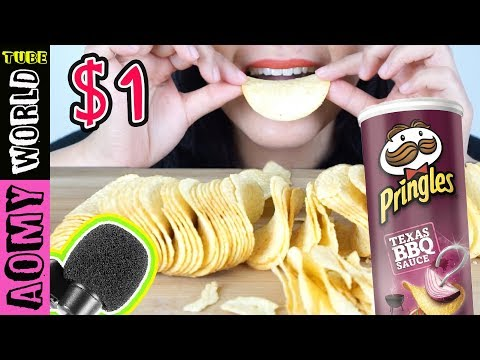 ASMR $1 Microphone | Crunchy Eating SOUND | PRINGLES BBQ | AomyWorldTUBE