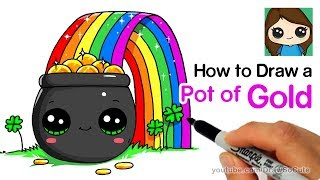 How to Draw a Pot of Gold with Rainbow Easy