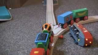 cartoon. BRIO train race. мультфильм. гонка поездов BRIO. Holzeisenbahn.