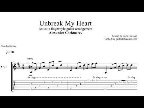 Unbreak My Heart TAB - acoustic fingerstyle guitar tab - PDF - Guitar Pro