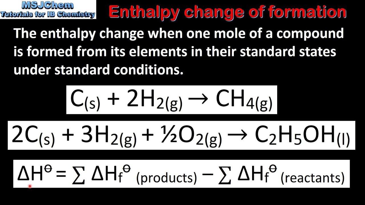 51 Standard Enthalpy Change Of Formation Sl Youtube