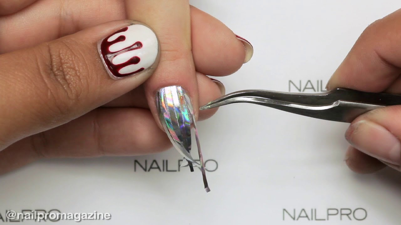 How to Encapsulate Foil Strips for Holographic Nails - YouTube