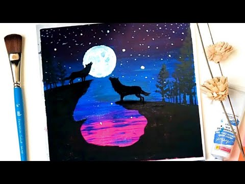 Night Wolf| Easy and simple Landscape Acrylic Painting on Mini Canvas StepbyStep #05|Satisfying Demo