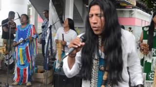 Outdoors Singing & flute playing Native Americans performance