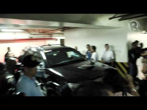 Junjun Binay leaves Makati City Hall with Senate sgt -at-arms