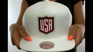 Team USA 'SHIELD SNAPBACK' White Hat by Mitchell and Ness
