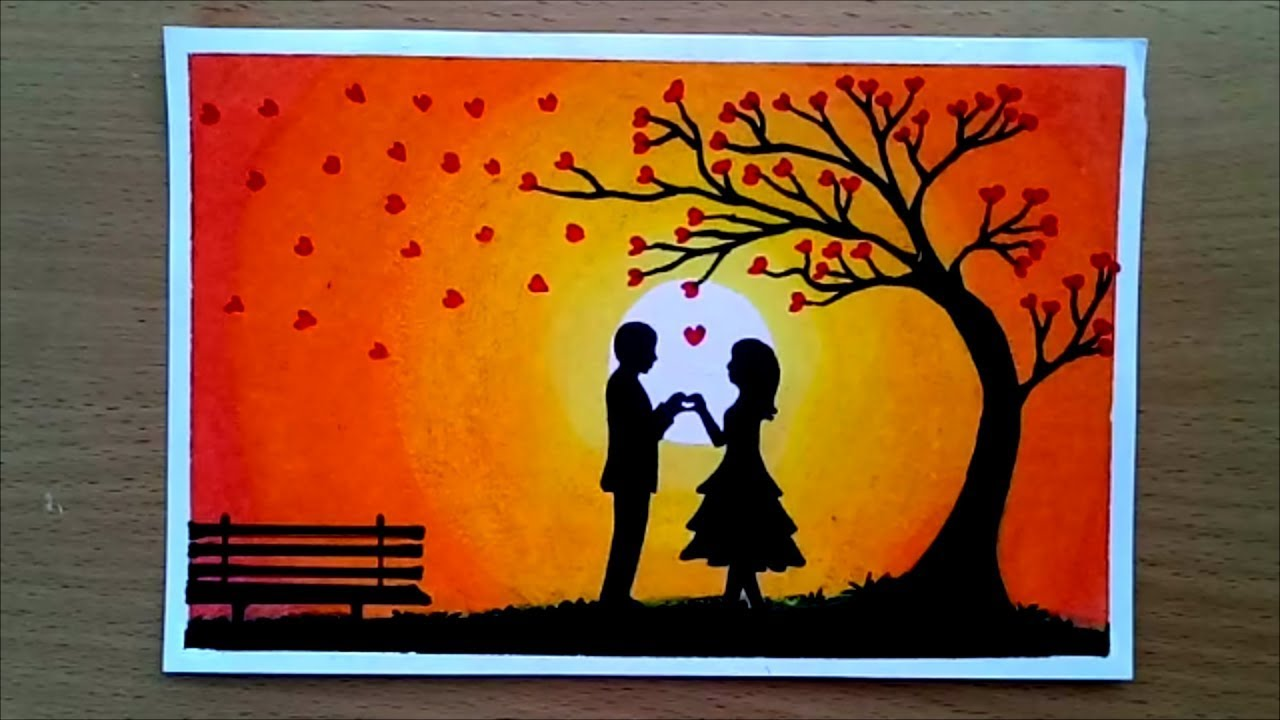 How to draw romantic couple under love tree step by stepeasy draw
