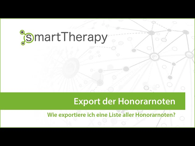 smartTherapy: Export der Honorarnote