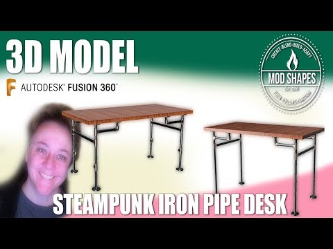 DIY Iron Pipe Desk Plan and 3d Model in  Fusion 360 Plus Cost Evaluation!