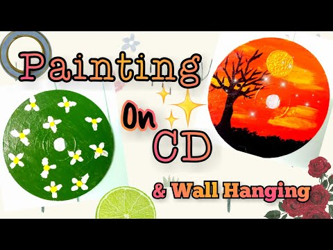 How to Paint on a CD💿  & Wall Hanging | CD painting ideas | 3 EASY acrylic painting on cds